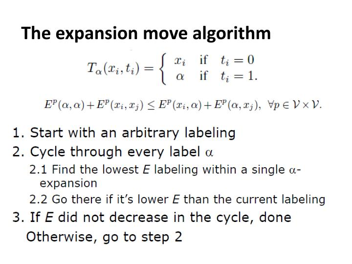 The expansion move algorithm
