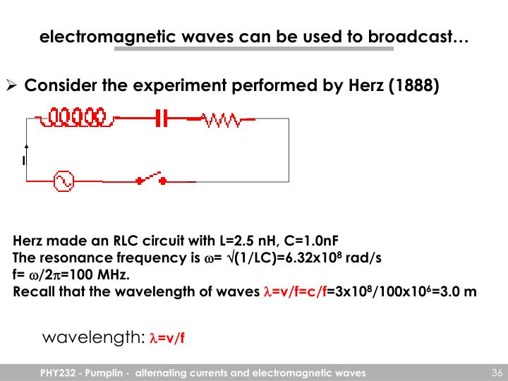 electromagnetic waves can be used to broadcast…