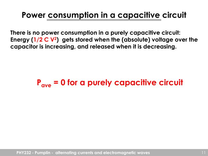 Power consumption in a capacitive circuit