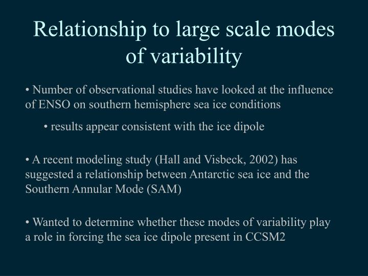 Relationship to large scale modes of variability