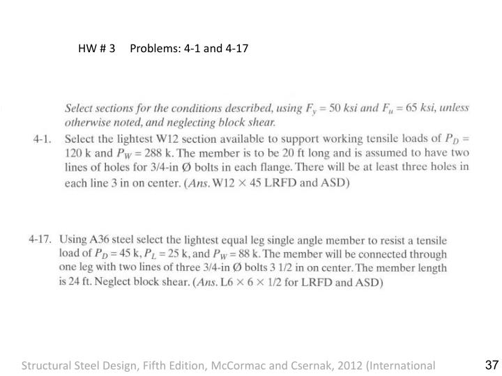 HW # 3     Problems: 4-1 and 4-17