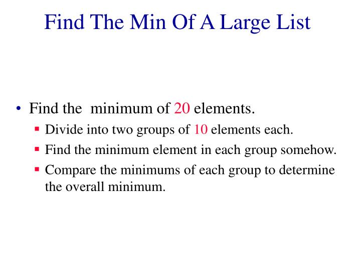 Find The Min Of A Large List
