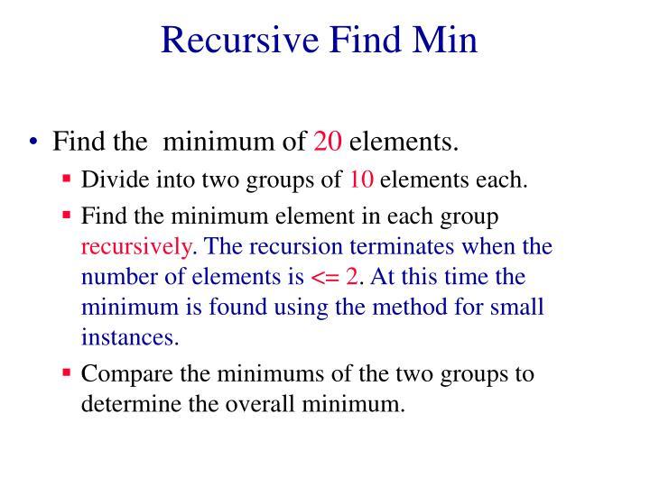 Recursive Find Min