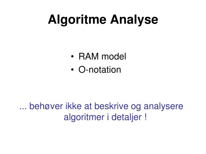 Algoritme Analyse