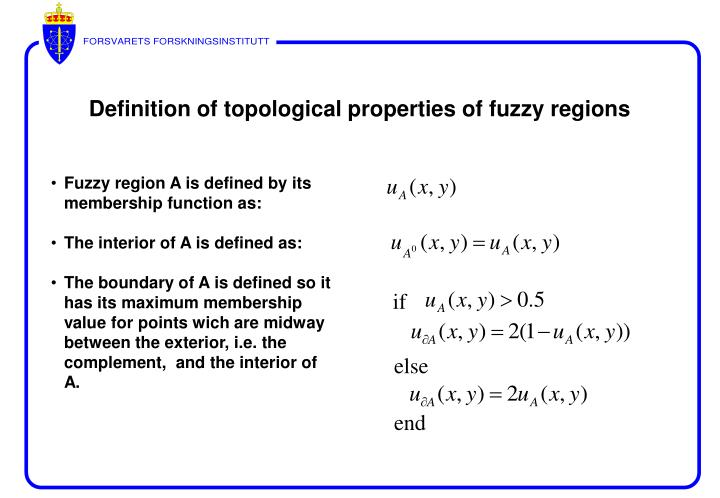 Fuzzy region A is defined by its membership function as: