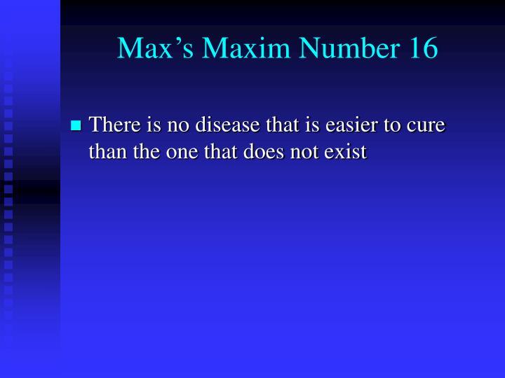 Max's Maxim Number