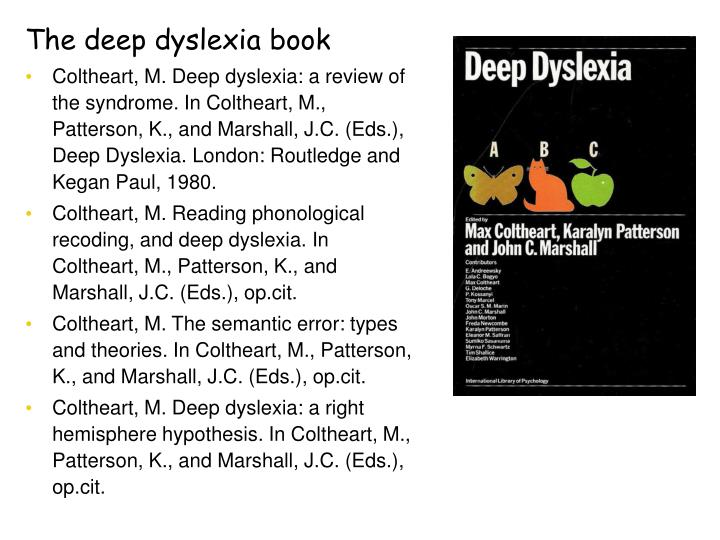 The deep dyslexia book
