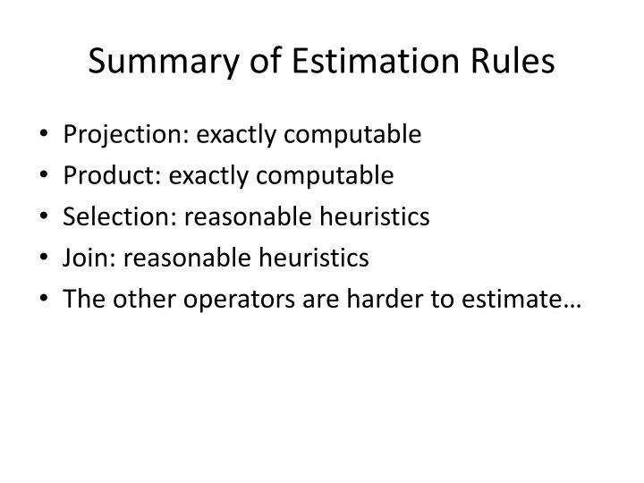 Summary of Estimation Rules