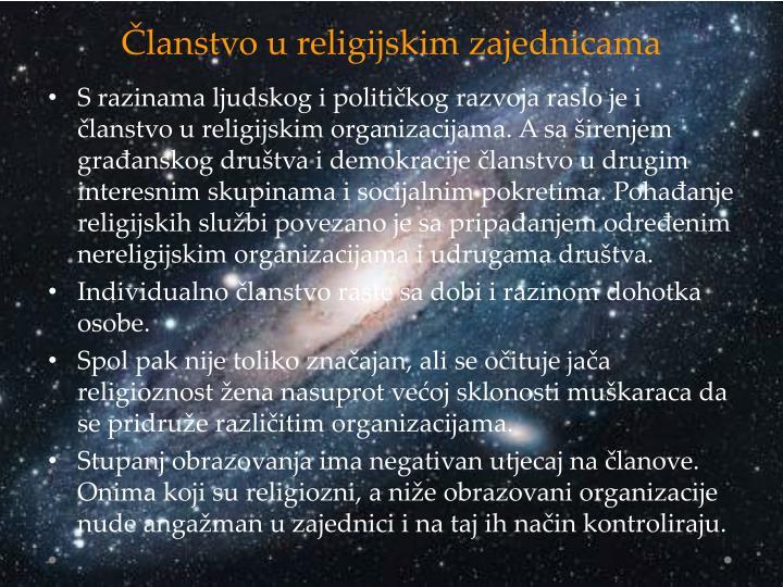 Članstvo u religijskim zajednicama