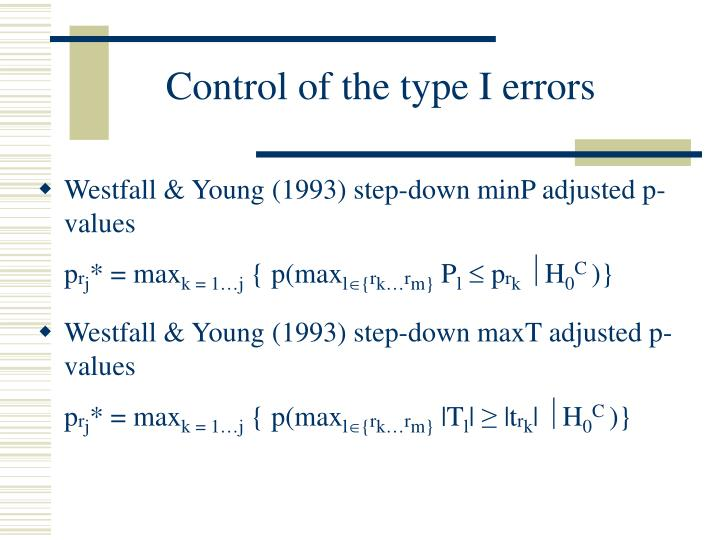 Control of the type I errors