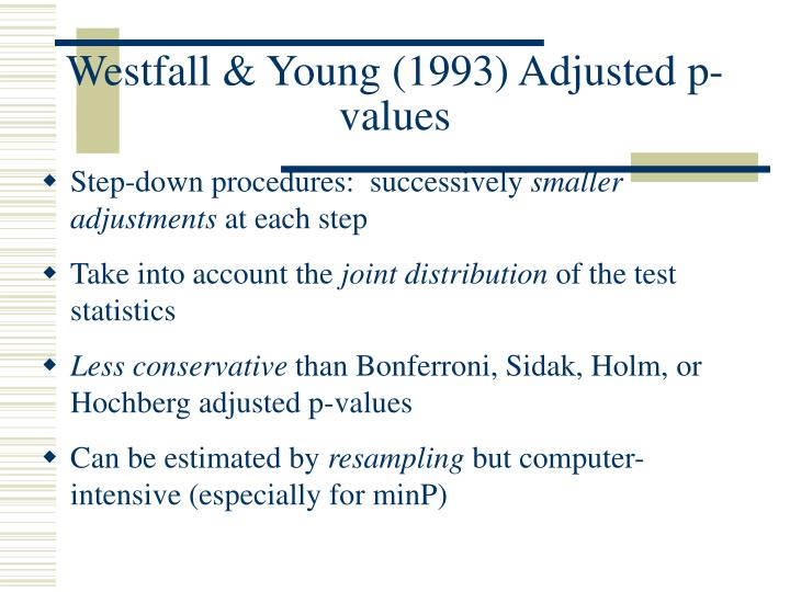 Westfall & Young (1993) Adjusted p-values