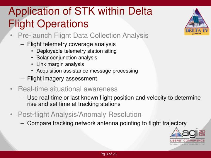 Application of stk within delta flight operations