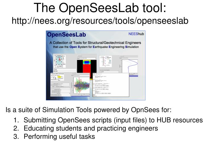 The OpenSeesLab tool: