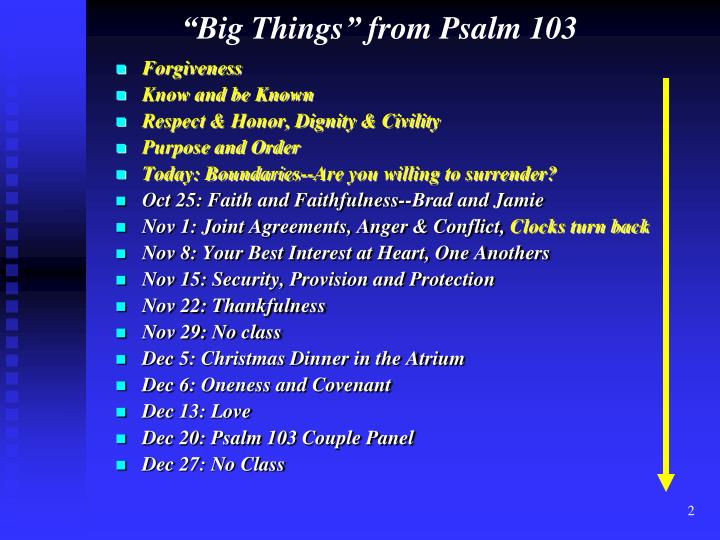Big things from psalm 103