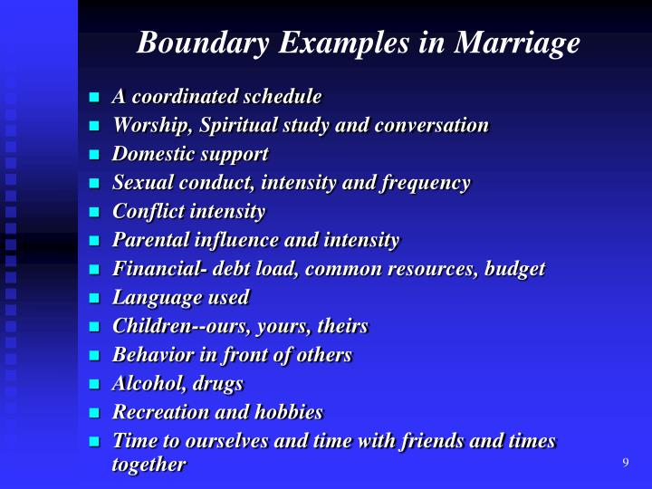 Boundary Examples in Marriage