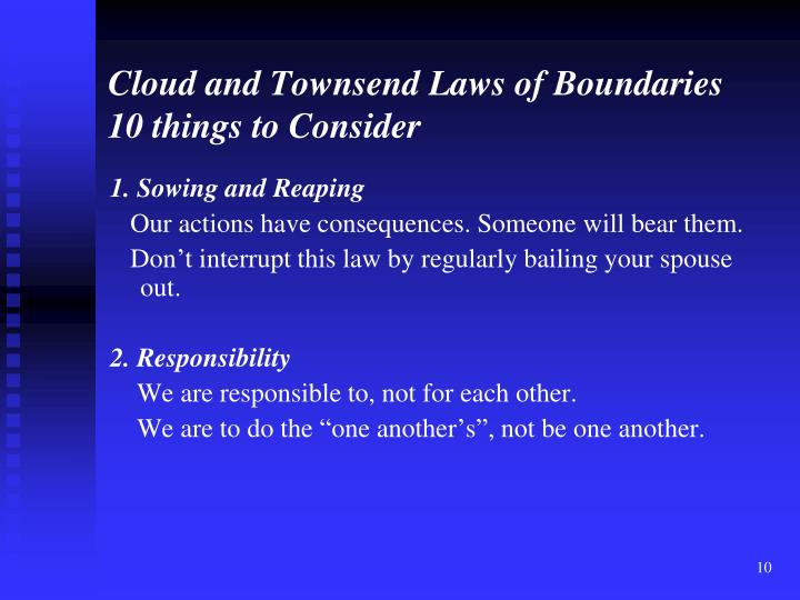 Cloud and Townsend Laws of Boundaries