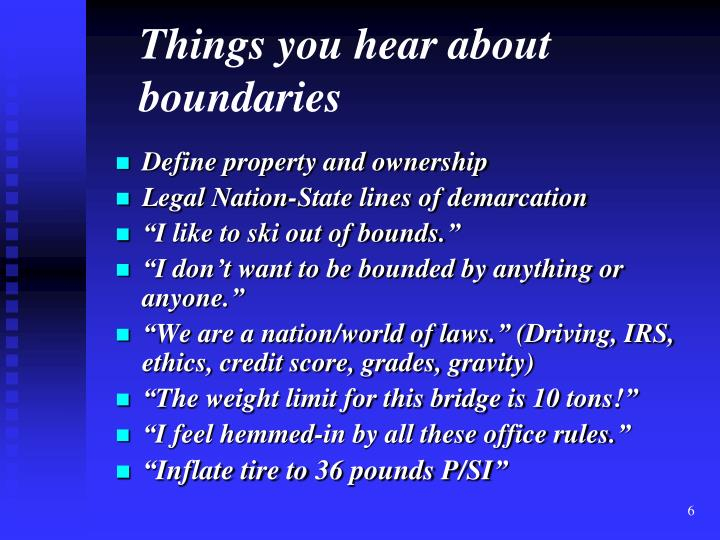 Things you hear about boundaries