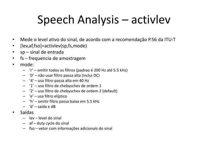 Speech Analysis – activlev