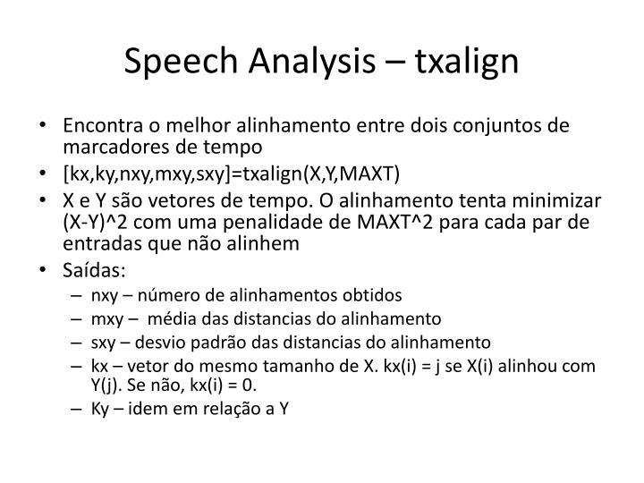 Speech Analysis – txalign
