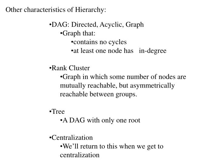 Other characteristics of Hierarchy: