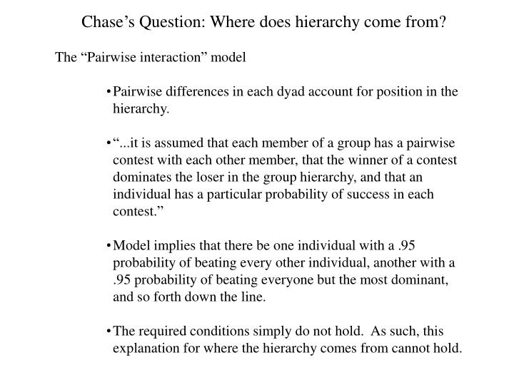 Chase's Question: Where does hierarchy come from?