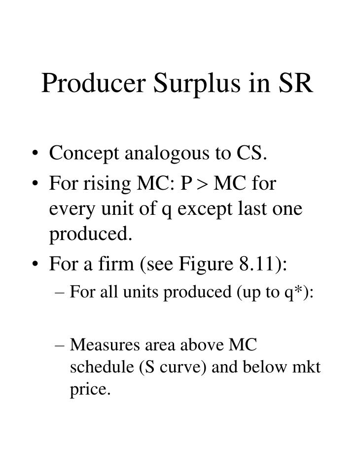 Producer Surplus in SR
