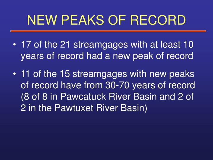 NEW PEAKS OF RECORD