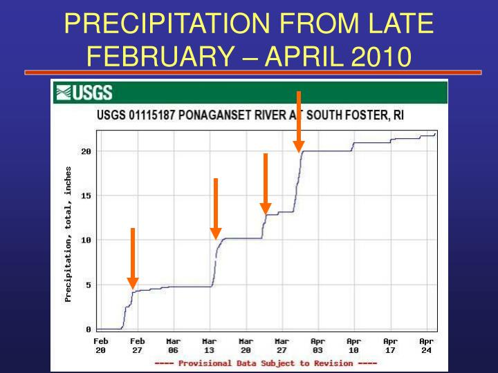 PRECIPITATION FROM LATE FEBRUARY – APRIL 2010
