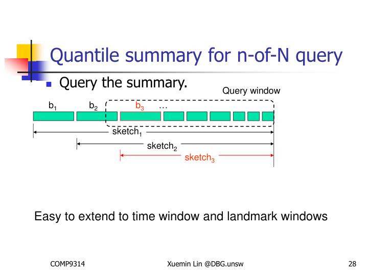 Quantile summary for n-of-N query