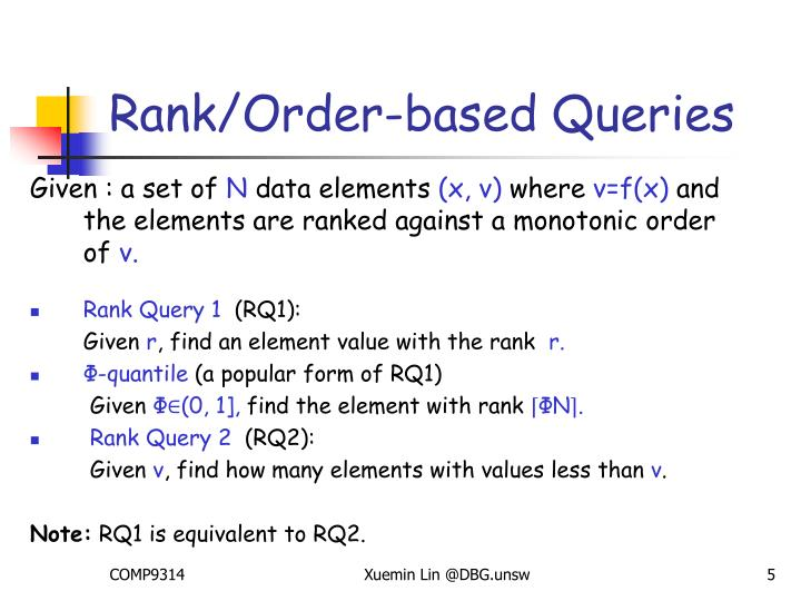 Rank/Order-based Queries
