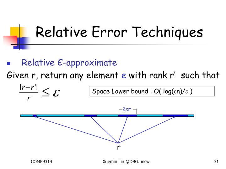 Relative Error Techniques
