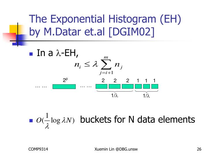 The Exponential Histogram (EH)