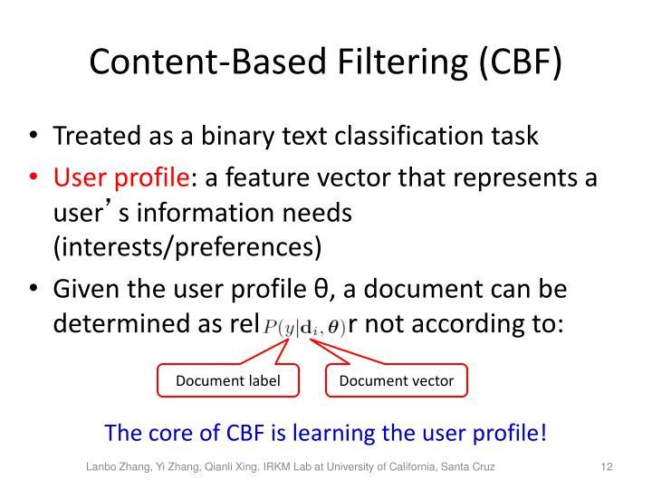 Content-Based Filtering (CBF)