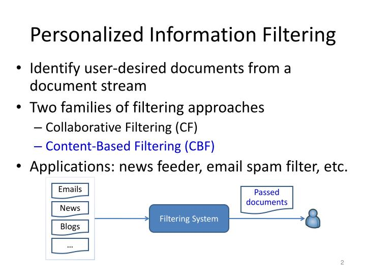 Personalized Information Filtering