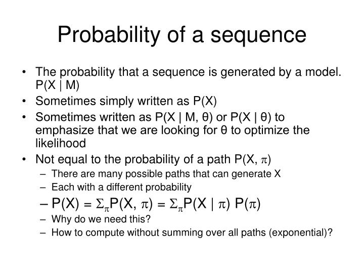 Probability of a sequence