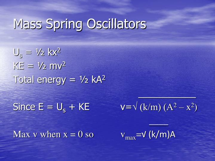 Mass Spring Oscillators