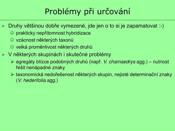 Problémy při určování
