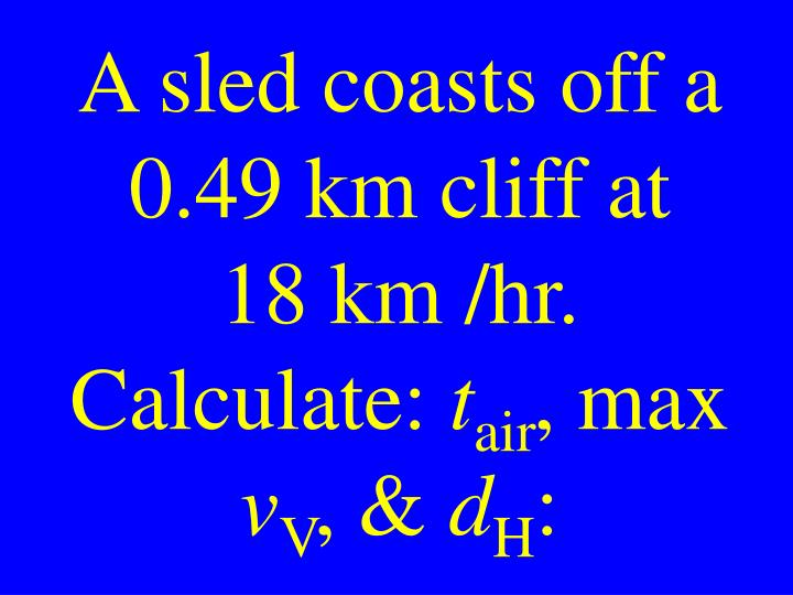 A sled coasts off a 0.49 km cliff at