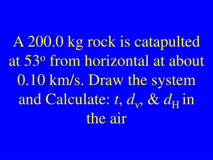 A 200.0 kg rock is catapulted at 53