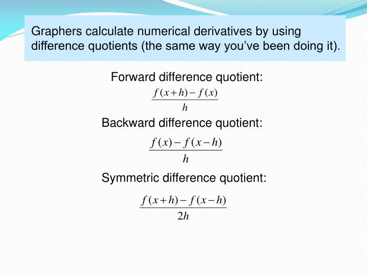 Graphers calculate numerical derivatives by using