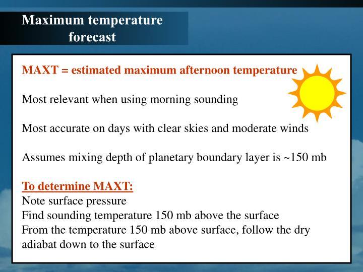 Maximum temperature forecast
