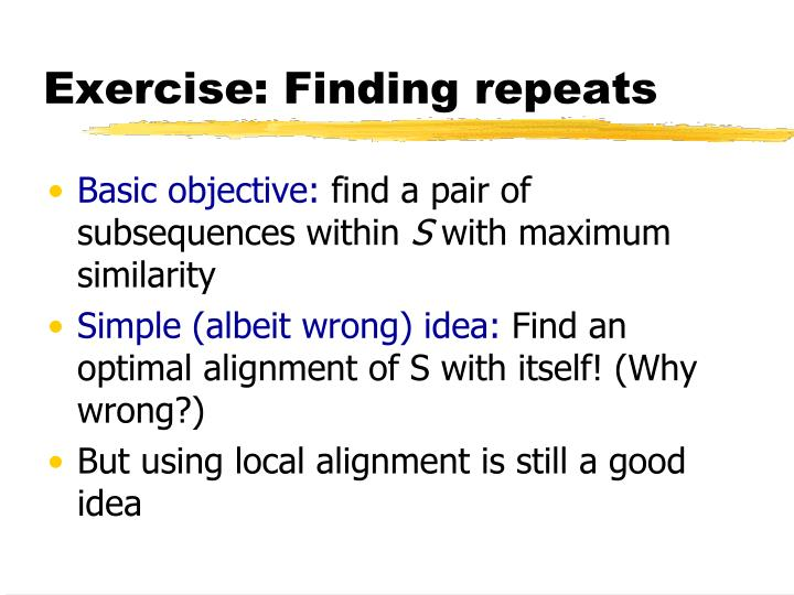 Exercise: Finding repeats