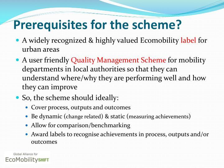 Prerequisites for the scheme?
