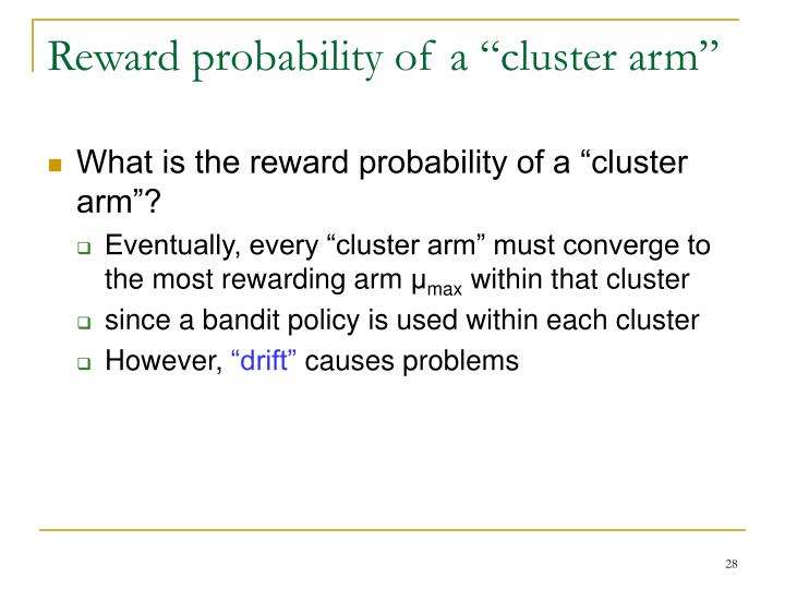 "Reward probability of a ""cluster arm"""