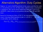 alternative algorithm duty cycles