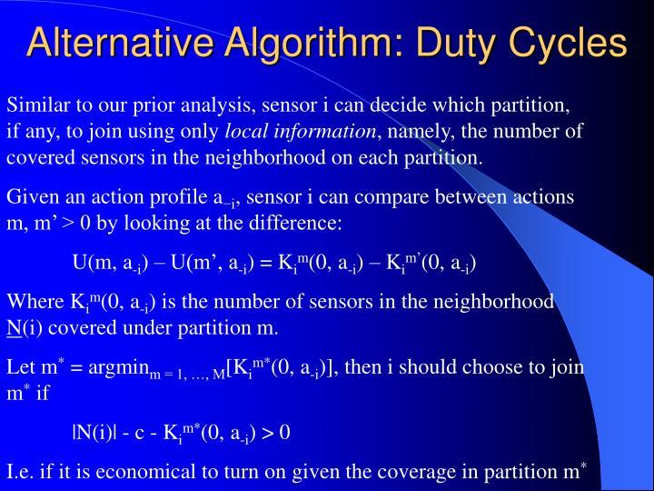 Alternative Algorithm: Duty Cycles