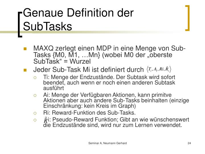 Genaue Definition der SubTasks