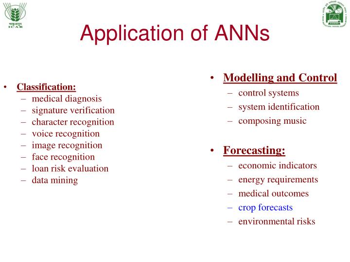 Application of ANNs