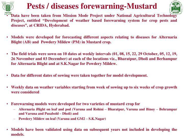 Pests / diseases forewarning-