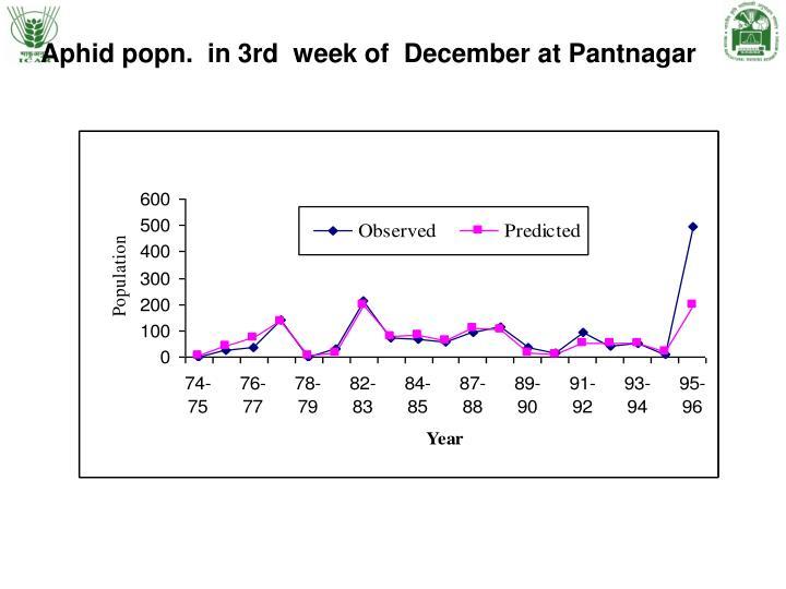 Aphid popn.  in 3rd  week of  December at Pantnagar
